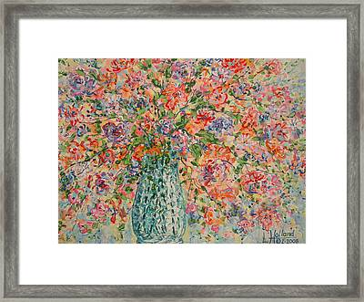 Flowers In Crystal Vase. Framed Print