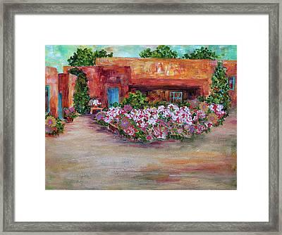 Flowers In Front Of Adobe Framed Print