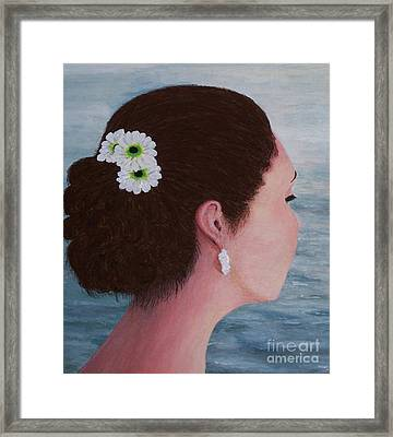 Flowers In Her Hair Framed Print by Judy Kirouac