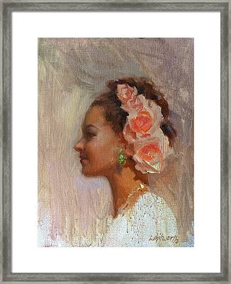 Pretty Flowers - Impressionistic Portrait Of Young Woman Framed Print by Karen Whitworth