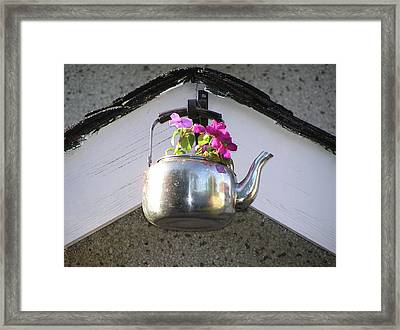 Flowers In Teapot Framed Print by Richard Mitchell
