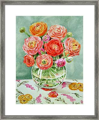 Flowers In The Glass Vase Framed Print