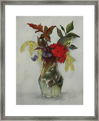 Framed Print featuring the painting Flowers In Vase by Kim Fournier