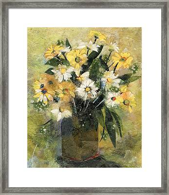 Flowers In White And Yellow Framed Print by Nira Schwartz