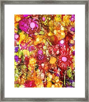 Flowers In Yellow And Pink Framed Print