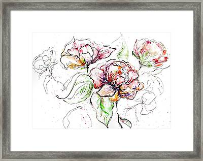 Flowers Inked Framed Print by Reba Mcconnell