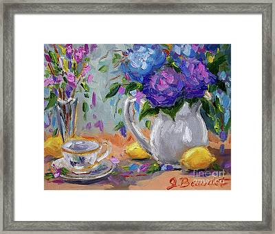 Framed Print featuring the painting Flowers Lemons by Jennifer Beaudet