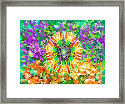 Framed Print featuring the painting Flowers Mandala by Hidden Mountain