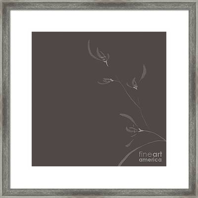 Flowers Of Wild Orchids Japanese Sumie Elegant Zen Painting Flor Framed Print