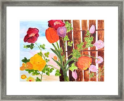 Framed Print featuring the painting Flowers On A Fence by Sandy McIntire