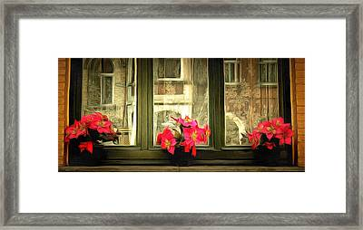 Flowers On A Ledge Framed Print