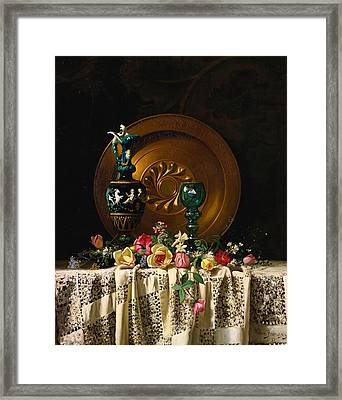 Flowers On A Table Framed Print by Milne Ramsey