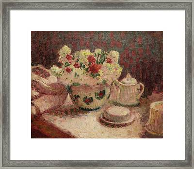 Flowers On A Table Framed Print by MotionAge Designs