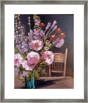 Flowers On The Kitchen Table Framed Print by Juliet Mevi
