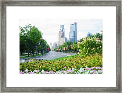 Flowers On The Parkway - Cityhall Framed Print