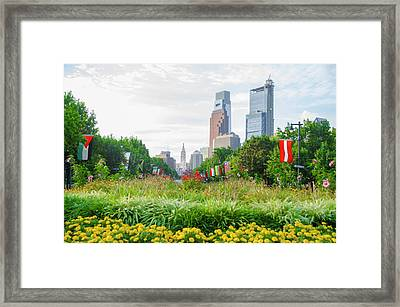 Flowers On The Parkway - Philadelphia Framed Print