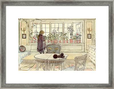 Flowers On The Windowsill Framed Print