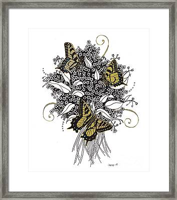 Framed Print featuring the drawing Flowers That Flutter by Stanza Widen