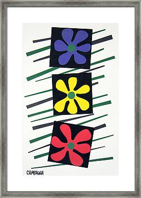 Flowers Three Framed Print by Teddy Campagna