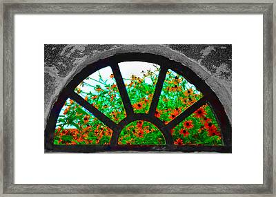 Flowers Through Basement Window At Monticello Framed Print by Bill Cannon
