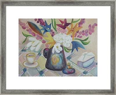 flowers Tin Vase and Tea Cup  Framed Print by Suzanne  Marie Leclair
