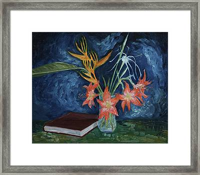 Flowers With Book Framed Print by Eva Santi