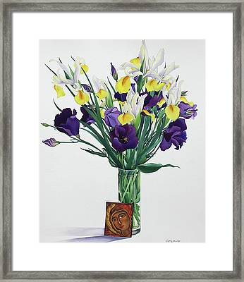Flowers With Face From An Icon Framed Print by Christopher Ryland