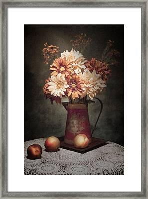 Flowers With Peaches Still Life Framed Print by Tom Mc Nemar