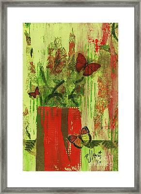 Framed Print featuring the mixed media Flowers,butteriflies, And Vase by P J Lewis