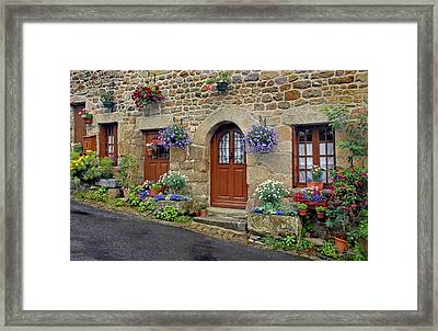 Flowery Doorways In Brittany Framed Print