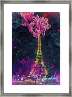 Flowery Eiffel Framed Print by Andrew Soundarajan