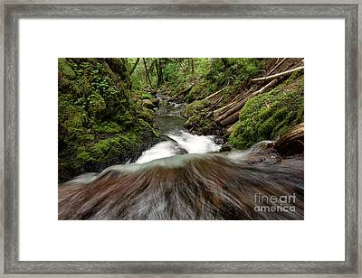 Flowing Downstream Waterfall Art By Kaylyn Franks Framed Print