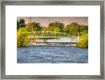 Flowing Kern River Walk And Bridge Framed Print