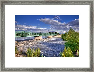 Flowing River And Bridge Framed Print by Connie Cooper-Edwards