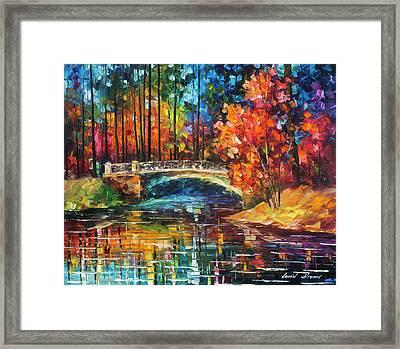 Flowing Under The Bridge  Framed Print by Leonid Afremov