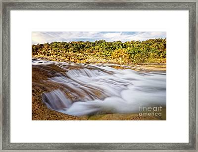 Flowing Waters Of The Pedernales River At Pedernales Falls State Park - Texas Hill Country Framed Print by Silvio Ligutti