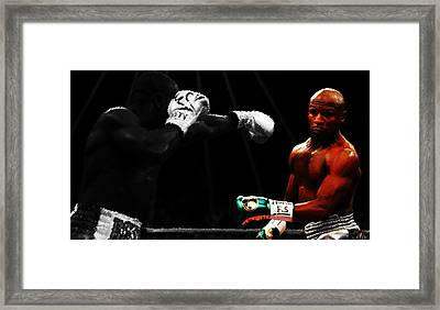 Floyd Mayweather Ducking And Dodging Framed Print by Brian Reaves