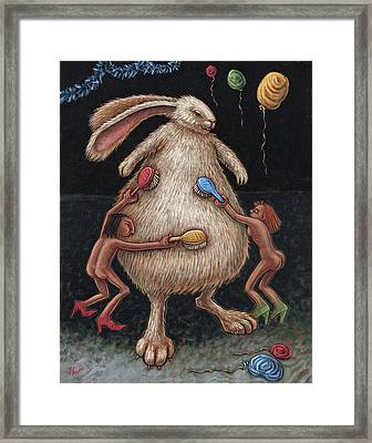 Fluffing The Bunny Aka Grooming The Bride Framed Print