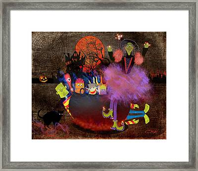 Fluffnella The Magical Good Witch And Her Pot Of Goblins Framed Print