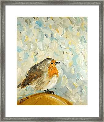 Framed Print featuring the painting Fluffy Bird In Snow by Maria Langgle