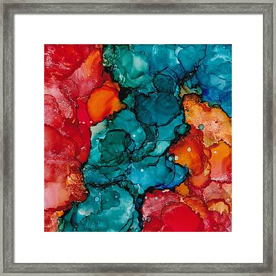 Framed Print featuring the painting Fluid Depths Alcohol Ink Abstract by Nikki Marie Smith