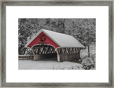 Flume Covered Bridge In Winter Framed Print