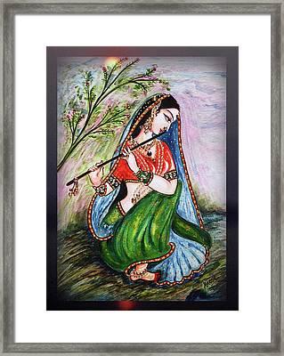 Flute Playing In - Krishna Devotion  Framed Print
