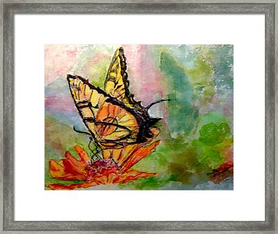 Flutterby - Watercolor Framed Print by Donna Hanna