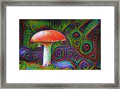 Fly Agaric Magic Mushroom Deep Dream Framed Print by Matthias Hauser