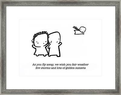 Framed Print featuring the drawing Fly Away by Leanne Wilkes