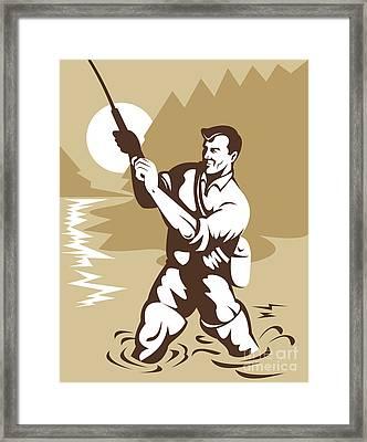 Fly Fisherman Casting Framed Print by Aloysius Patrimonio