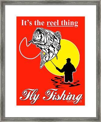 Fly Fisherman Catching Largemouth Bass Framed Print by Aloysius Patrimonio