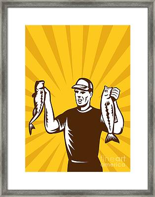 Fly Fisherman Holding Bass Fish Catch Framed Print by Aloysius Patrimonio