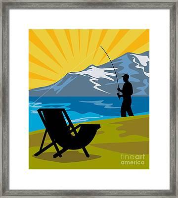 Fly Fishing Framed Print by Aloysius Patrimonio